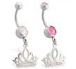 Navel ring with dangling jeweled tiara crown