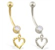 14K Gold belly ring with dangling heart charm with