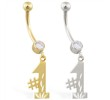 14K Gold belly ring with dangling