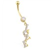 14K Yellow And White Gold Belly Ring with Dangling