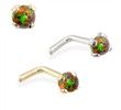 14K  gold L-shaped Nose Pin with 2mm Round Rainbow Opal