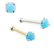 14K Gold Nose Bone with 2mm Round Turquoise