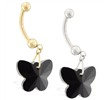 14K Gold Belly Ring with Dangling Black Swarovski Crystal Butterfly