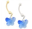 14K Gold Belly Ring with Dangling Blue Swarovski Crystal Butterfly