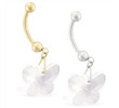 14K Gold Belly Ring with Dangling Clear Swarovski Crystal Butterfly