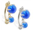 14K Gold reversed belly ring with double Blue opal dangle
