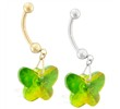 14K Gold Belly Ring with Dangling Green AB Swarovski Crystal Butterfly