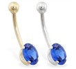 14K Gold belly ring with Sapphire oval