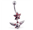 Nautica star belly ring with dangling skull and wings