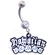 Belly ring with dangling