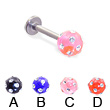 Titanium labret with multi-gem acrylic colored ball, 14 ga