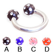 Titanium circular barbell with multi-gem acrylic colored balls, 14 ga