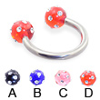 Titanium circular barbell with multi-gem acrylic colored balls, 12 ga