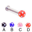 Labret with multi-gem acrylic colored ball, 10 ga