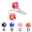 Twister barbell with multi-gem acrylic colored balls, 14 ga