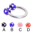 Circular barbell with multi-gem acrylic colored balls, 12 ga