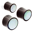 Pair Of Organic Horn Plugs with Mother Of Pearl Inlay