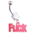 Jeweled belly ring with dangling red