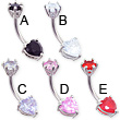 Double jewel pronged heart belly ring