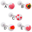 acrylic heart logo tongue rings, 14 ga