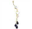 Gold Tone jeweled belly ring with dangling heart key and black stones