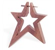 Hand carved sono wood star stirrup earring with taper, 14 ga