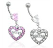 Jeweled heart belly ring with dangling heart and