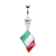 Belly ring with dangling Italian flag