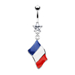 Belly ring with dangling French flag