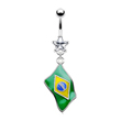 Belly ring with dangling Brazilian sign