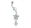Navel ring with dangling jeweled star and gem
