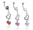 Jeweled heart belly ring dangling double hearts