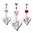 Jeweled heart belly ring with dangling triple heart