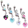 Double jeweled navel ring with dangling colorful crystal prism heart