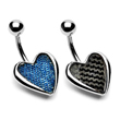Carbon fiber and denim heart belly ring