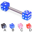 Titanium straight barbell with jeweled acrylic dice, 12 ga