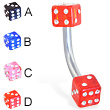 Jeweled acrylic dice curved barbell, 12 ga