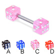 Straight barbell with jeweled acrylic dice, 14 ga