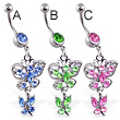 Jeweled navel ring with dangling jeweled butterflies