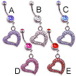 Navel ring with dangling gem paved heart