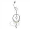Belly ring with dangling jeweled circle and gems