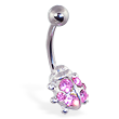 Pink jeweled ladybug belly ring