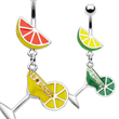 Fruit navel ring with dangling martini glass