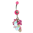 Pink jeweled navel ring with pink bead and jeweled dangle