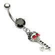 Black jeweled belly ring with dangling skull key