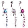 Jeweled belly ring with single jeweled dangle