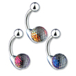 Navel ring with colored crystal ball