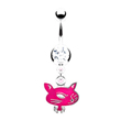 Jeweled navel ring with dangling pink cat