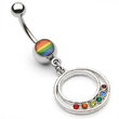 Rainbow Navel Ring with Dangling Rainbow Jeweled Circle