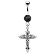 Navel ring with dangling cross with wings